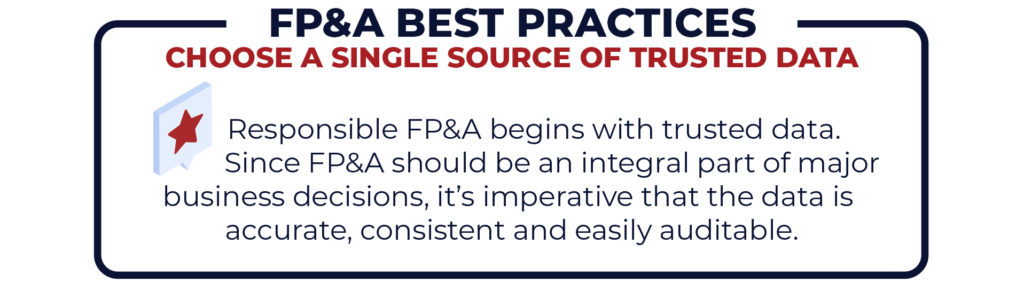 FP&A best practices: Choose a single source of trusted data for responsible FP&A